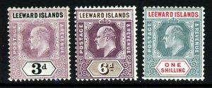 LEEWARD ISLANDS King Edward VII 1905-8 Wmk Mult Crown CA SG 33a SG 34 SG 35 MINT