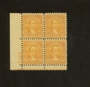 United States Postage Stamp #591 MLH F/VF Plate No. 17649 Block of 4
