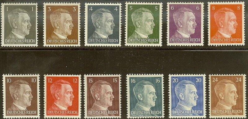 Stamp Germany Mi 781-92 Sc 506-17 WWII Fascism Adolf Hitler MNG