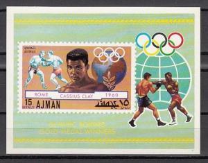 Ajman, Mi cat. 1060, BL308. Mohammad Ali, Olympic Boxing s/sheet.