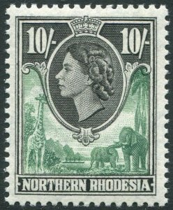 NORTHERN RHODESIA-1953 10/- Green & Black Sg 73 UNMOUNTED MINT V35941