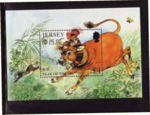 Jersey Sc 777 1997 Year of the Ox stamp sheet mint NH