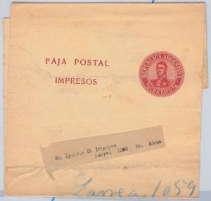 ARGENTINA - POSTAL HISTORY:  STATIONERY Wrapper