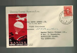 1942 Australia Parachute Mail to Mornington Island Signed by Pilot Qantas Empire