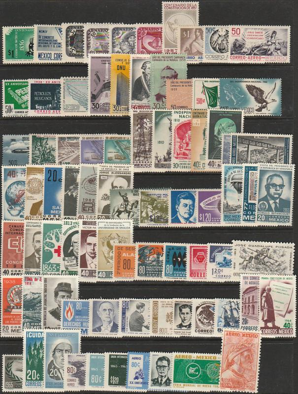 MEXICO 1956-1965 TEN YEARS OF COMMEMS. NO DUPLICATION - 79 STAMPS, MINT, NH.