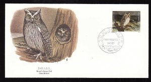 Flora & Fauna of the World #208a-Israel-Birds-bruce's Scop Owl-FDC with  single