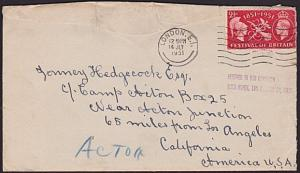 GB TO USA 1951 cover RECEIVED IN BAD CONDITION..............................6397