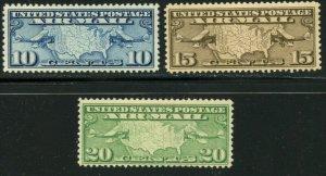 US Sc#C7-C9 1926-27 Map & Planes Nice Set OG Mint NH