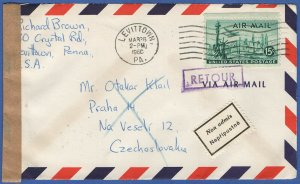 US Sc C35 1960 Airmail Censored Cover to CZECHOSLOVAKIA, Returned - Not Admitted