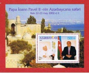 Azerbaijan #739  MNH OG Pope John Paul ll  SS  Free S/H