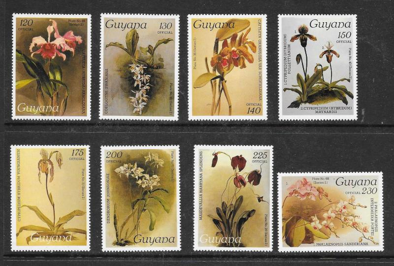 GUYANA Sc#O40-O56 Orchids Officials Complete Mint Never Hinged Set