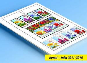 COLOR PRINTED ISRAEL [+ TABS] 2011-2018 STAMP ALBUM PAGES (67 illustrated pages)
