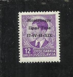 MONTENEGRO 1941 OVERPRINTED SOPRASTAMPATO DI JUGOSLAVIA 12D USED