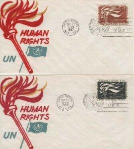 UN #57/58  - HUMAN RIGHTS FDC 1957  - Velvatone cachet set of 2