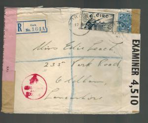 1941 Cork Ireland Dual Censored Cover to England