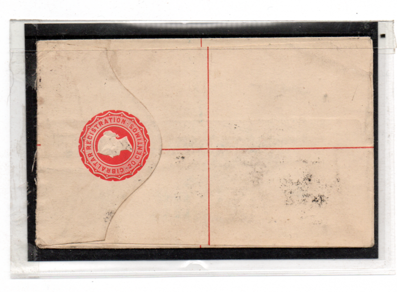 GIBRALTAR 1892 REGISTERED COVER TO ENGLAND