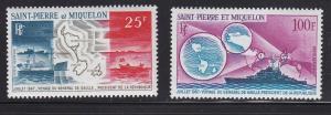 St. Pierre and Miquelon #C35-C36 MNH CV$68.50 Colbert Island Map Flag [95573]
