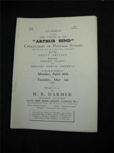 HR HARMER AUCTION CATALOGUE 1934 'ARTHUR HIND' COLLECTION PART 1 GB EUROPE & BNA