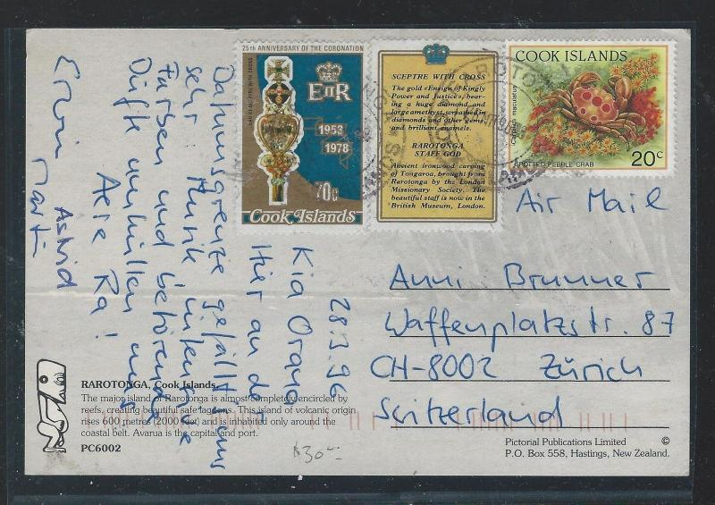 COOK ISLANDS  (P2209B) 1996 PPC WITH CRAB 20C+  TO SWITZERLAND