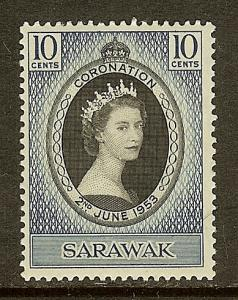 Sarawak, Scott #196, 10c Queen Elizabeth Coronation, MH