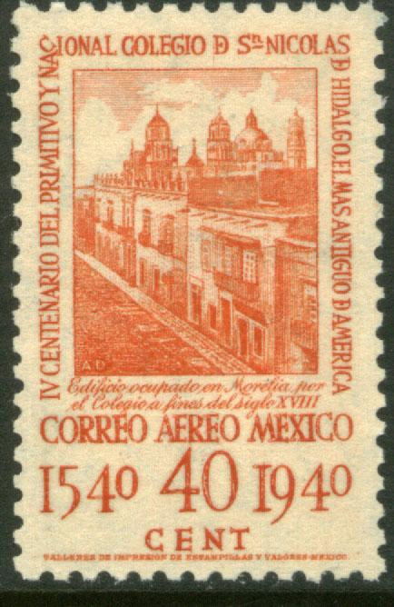MEXICO C109, 40c School of San Nicolas, 1st in America UNUSED, VLH. F-VF.
