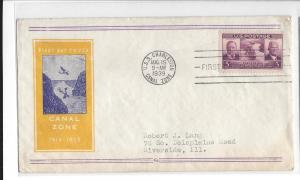 United States, 856-21, 3c Panama Canal FDC, Used