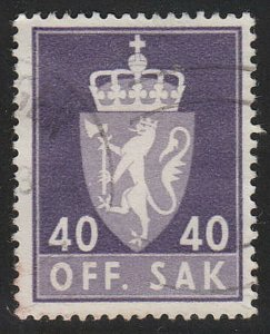 Stamp Norway Official Sc O072 1955 Dienst Coat Arms Used