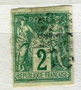 FRENCH COLONIES; Classic 1877-78 Imperf P & C type fine used 2c. value