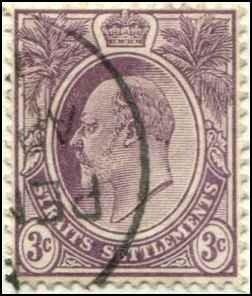 Straits Settlements SC# 106 Edward VII 3c wmk 2 Used