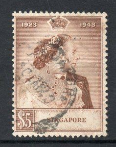 Malaya Singapore 1948 KGVI Royal Silver Wedding $5 SG 32 used CV £50 DESCRIPTION