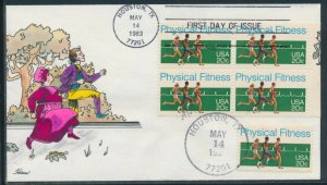 #2043 20c PHYSICAL FITNESS ON FIRST DAY COVER HANDPAINTED BY HAM BV1392