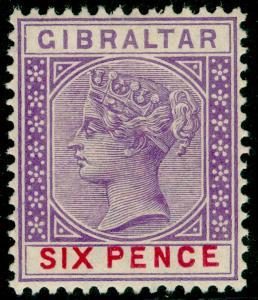 GIBRALTAR SG44, 6d Violet & Red, LH MINT. Cat £45.