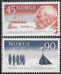 Norway 399-400 MNH - Roald Amundsen 50th Anniversary Arrival at South Pole