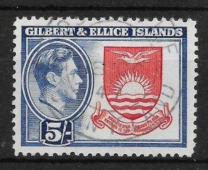 GILBERT & ELLICE IS. SG54 1939 5/= DEEP ROSE-RED & ROYAL BLUE USED