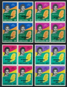 Grenada #403-8* NH Blocks of 4, 408a* NH  CV $20.50