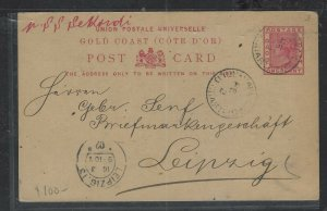 GOLD COAST  (PP1302B) 1902 QV 1D PSC CAPE COAST TO GERMANY