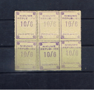 NEW REPUBLIC 1887 10/6 BLOCK OF SIX