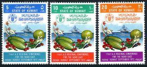 Kuwait 557-559, MNH. FAO Regional Conference. Emblem,Vegetables,Fish,Ship, 1972