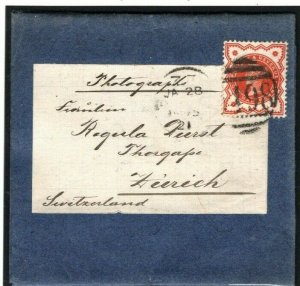 GB Cover BOOK POST Wrapper Endorsed PHOTOGRAPHS 1½d Printed Paper c1895 23b.2