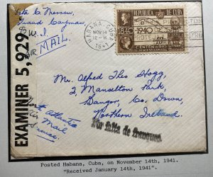 1941 Spanish Antilles Airmail Censored Cover to Dangor Northern Ireland