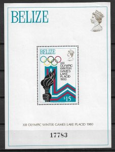 1980 Belize 470 XIII Winter Olympics MNH S/S