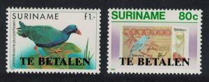 Suriname Birds Postage Due overprints 2v SG#D1327=D1330