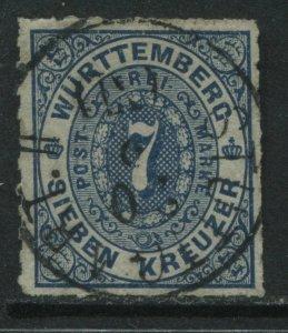 Wurttemberg 1869 7 kreuzer blue used