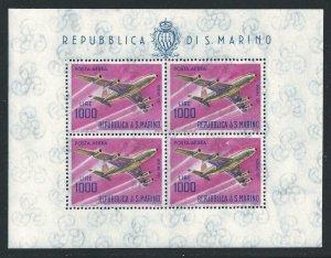 1964 San Marino, Bf N°24, Planes Age 1.000 Lire , MNH