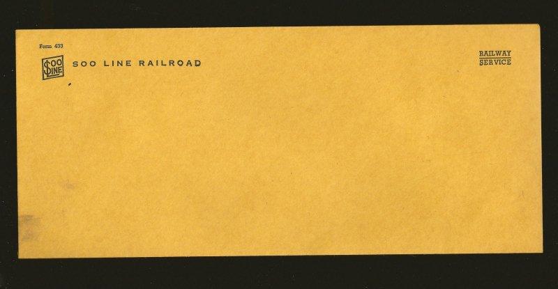 Vintage SOO Line Railroad Co Service Envelopes Form 432x1 & Form 433x2 Unused