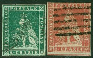 EDW1949SELL : ITALIAN STATES Tuscany 1851 Scott #4, 6 Very Fine, Used. Cat $405.