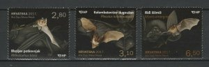 Croatia 2017 Fauna Animals Bats - 3 MNH stamps