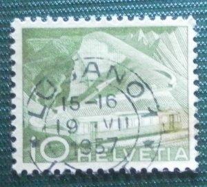 Switzerland Swiss Helvetia 10 Technology and Landscape Stamp 1949 Green,