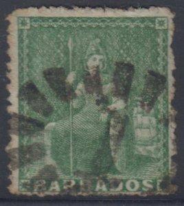 BC BARBADOS 1859 BRITANNIA Sc 15 GREEN NUMERAL 1 CANCEL SCV$47.50