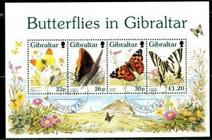 GIBRALTAR Sc#731a 1997 Butterflies Souvenir Sheet Complete Used